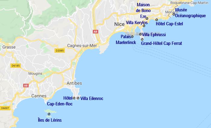 Carte des bâtiments et villas notables en bateau autour de Nice